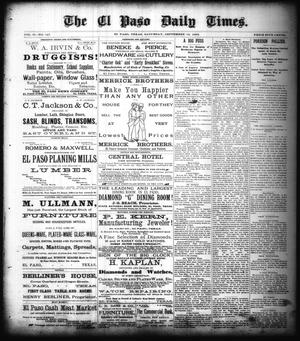 Primary view of object titled 'The El Paso Daily Times. (El Paso, Tex.), Vol. 2, No. 167, Ed. 1 Saturday, September 15, 1883'.