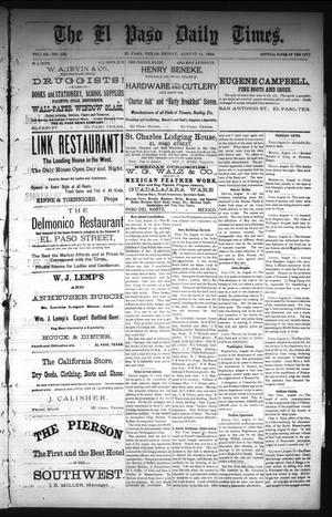 Primary view of The El Paso Daily Times. (El Paso, Tex.), Vol. 3, No. 136, Ed. 1 Friday, August 15, 1884
