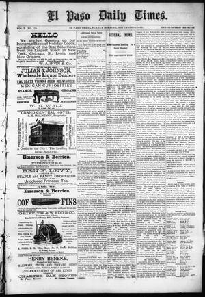 Primary view of object titled 'El Paso Daily Times. (El Paso, Tex.), Vol. 5, No. 170, Ed. 1 Sunday, November 15, 1885'.