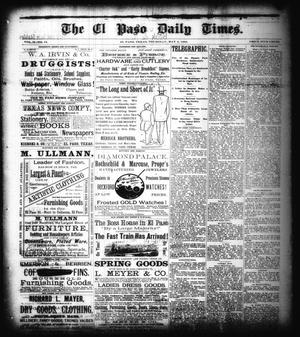 Primary view of object titled 'The El Paso Daily Times. (El Paso, Tex.), Vol. 2, No. 54, Ed. 1 Thursday, May 3, 1883'.