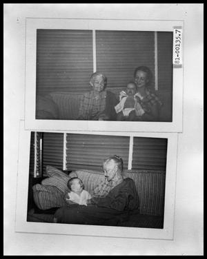 Primary view of object titled 'Picture of Rebecca W. Blake, Maxine and Charles Perini #2; Picture of Rebecca W. Blake and Charles Perini #2'.