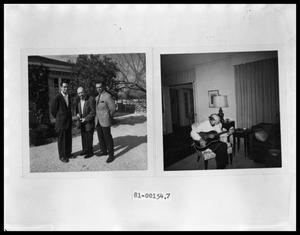 Primary view of object titled 'V. C. Jr., Tom, Vee Perini in Front Yard; V. C. Perini Playing Guitar'.