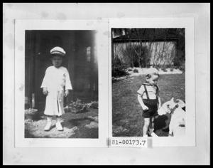 Primary view of object titled 'Vee Perini in Playclothes; Vee Perini with Dog in Backyard'.