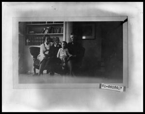 Primary view of object titled 'Maxine and Vee Perini with Rebecca W. Blake and Thile Walker on Sofa'.
