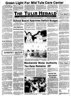 Primary view of object titled 'The Tulia Herald (Tulia, Tex.), Vol. 77, No. 34, Ed. 1 Thursday, August 22, 1985'.
