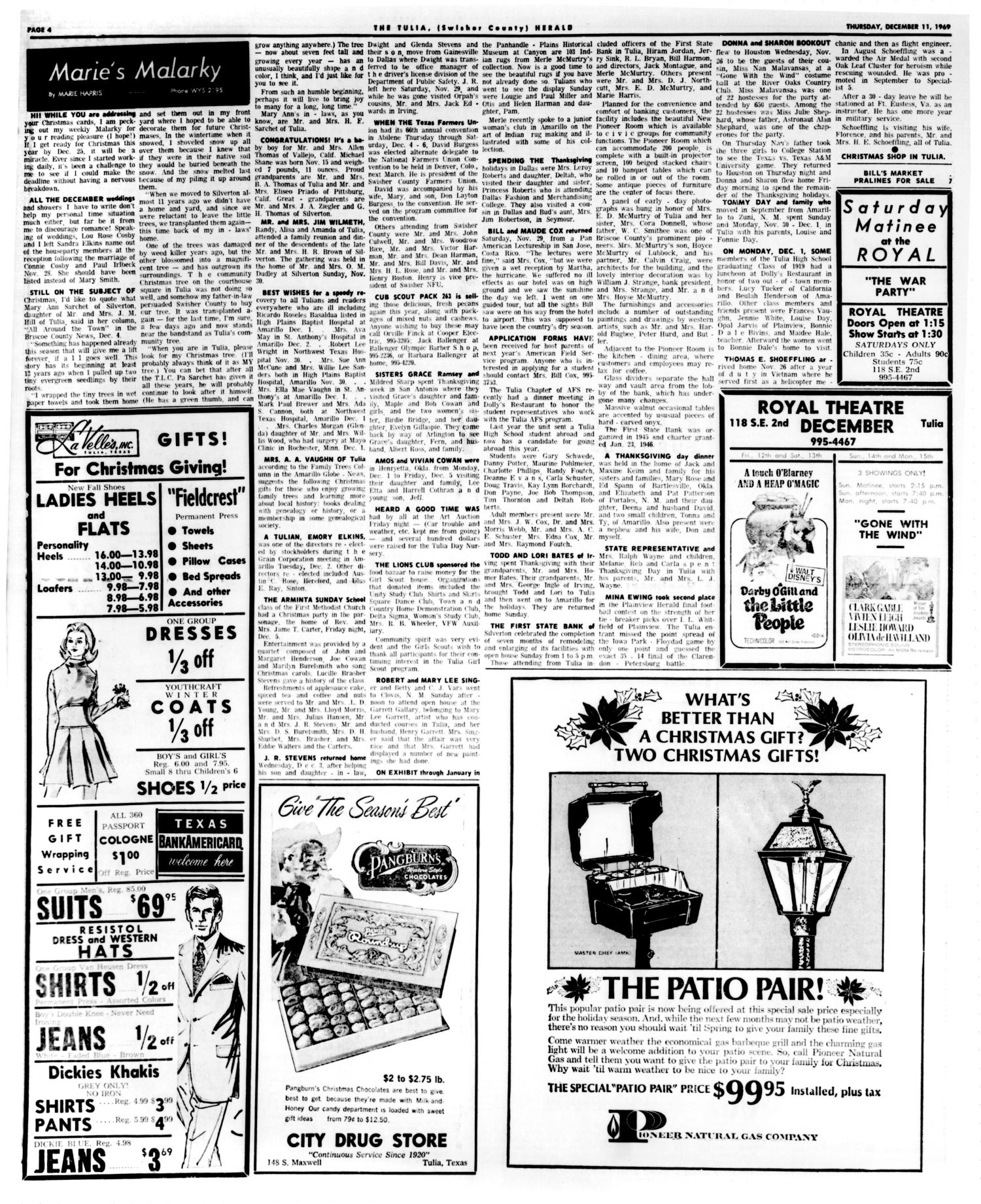 The Tulia Herald Tex Vol 61 No 50 Ed 1 Thursday Uha Chocolate Milk Candy 103g December 11 1969 Page 12 Of 16 Portal To Texas History
