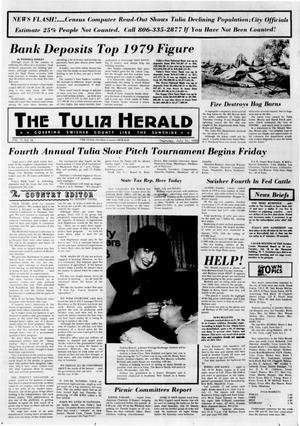 Primary view of object titled 'The Tulia Herald (Tulia, Tex.), Vol. 72, No. 28, Ed. 1 Thursday, July 10, 1980'.