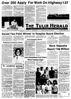 Primary view of object titled 'The Tulia Herald (Tulia, Tex.), Vol. 77, No. 15, Ed. 1 Thursday, April 11, 1985'.