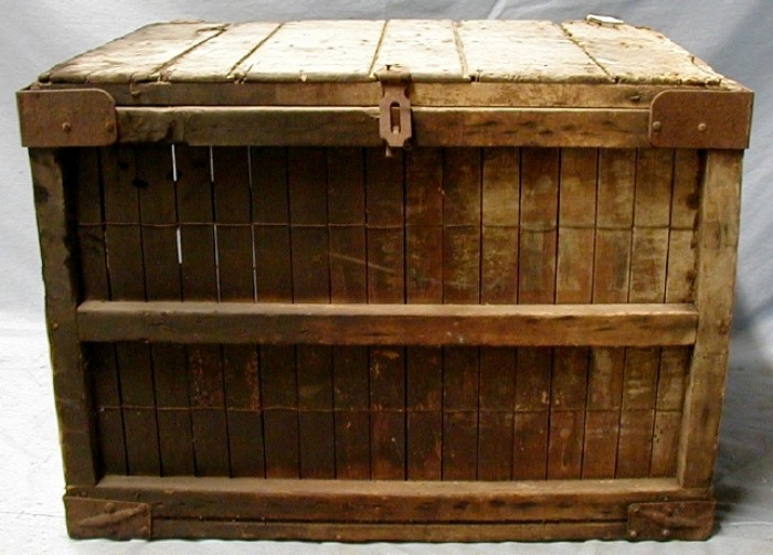 Large Wooden Crate Bread Box Showing Fire Damage The Portal To