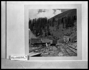 Primary view of object titled 'Abandoned Mine and Mine Carts'.