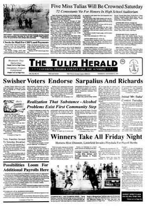 Primary view of object titled 'The Tulia Herald (Tulia, Tex.), Vol. 82, No. 45, Ed. 1 Thursday, November 8, 1990'.