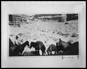 Primary view of object titled 'Two Men Traveling With Five Horses and Foal'.