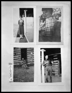 Woman by Post on Cabin Porch; Woman in Chair Outside of Cabin; Man by Cabin Door; Man by Post on Cabin Porch