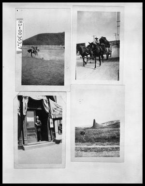 Primary view of object titled 'Bronco Rider; Horse-Drawn Wagon; Man in Store Doorway; Geological Formation'.