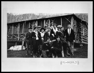 Primary view of object titled 'Group in Front of Cabin'.