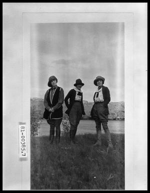 Primary view of object titled 'Three Women in Riding Clothes by Lake'.