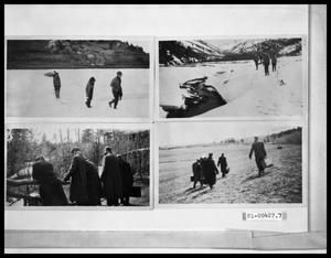 Primary view of object titled 'Four People Outside in Snow; Group of People Outside in Snow by Stream; Five Men Outside; Group of Men Outside Carrying Bags'.