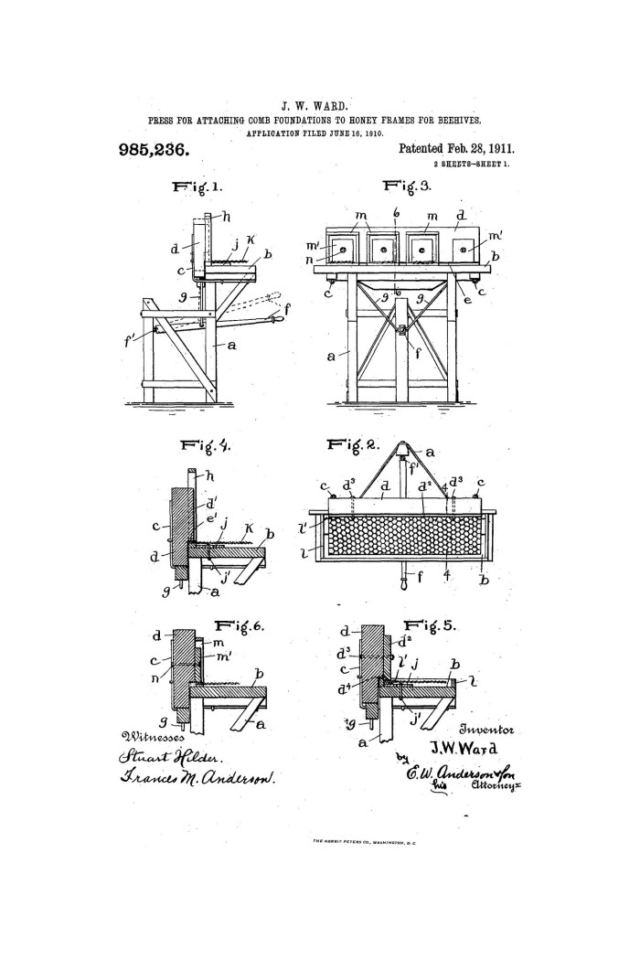 Press for Attaching Comb Foundations to Honey-Frames for Beehives ...