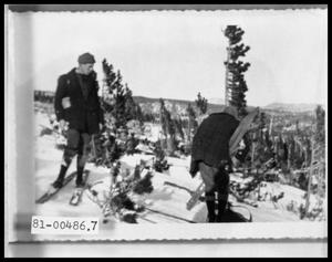 Primary view of object titled '[Photograph of Skiers in Colorado]'.