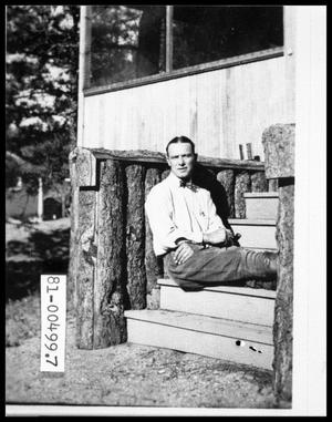 Primary view of object titled 'Late 1920s Bud Perini at Mountain Cabin'.