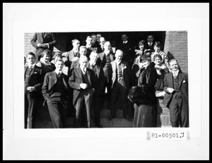 Primary view of object titled 'Fraternity Men on Steps'.