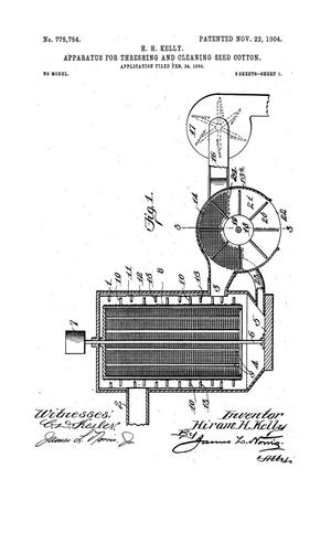 Primary view of object titled 'Apparatus For Threshing and Cleaning Seed Cotton'.