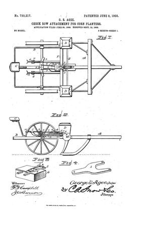 Primary view of object titled 'Check-Row Attachment for Corn-Planters'.