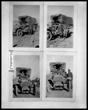 Primary view of object titled 'Man by Chuck Wagon; Two Men by Chuck Wagon; Man in Chuck Wagon; Four Men With Chuck Wagon'.