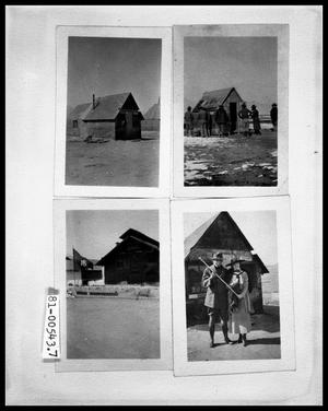 Primary view of object titled 'Dilapidated Cabin; Men around Dilapidated Cabin; Military Unit's Flag and HQ; Man and Woman Outside of Shack'.