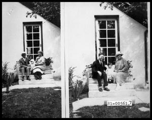 Primary view of object titled 'Grandparents and Virginia Lee on Back Steps; Parents and Virginia Lee on Back Steps'.