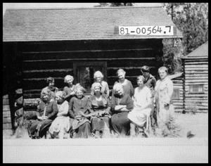 Primary view of object titled 'Group of Women in front of Cabin'.