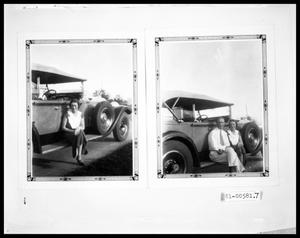 Primary view of object titled 'V.C. Perini Jr. and Woman Sitting on a Car Running Board'.