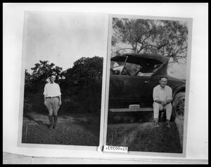 Primary view of object titled 'Man Standing by Dirt Road; Man Sitting on Car Running Board'.