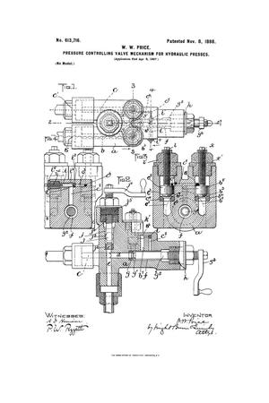 Primary view of object titled 'Pressure-Controlling Valve Mechanism For Hydraulic Presses.'.