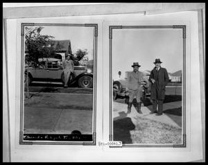 Primary view of object titled 'Man Leaning on Car; Two Men in front of Car'.