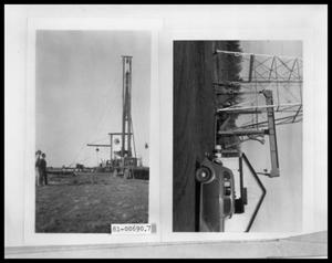 Primary view of object titled 'Picture of People Outside by a Structure; Oil Rig'.