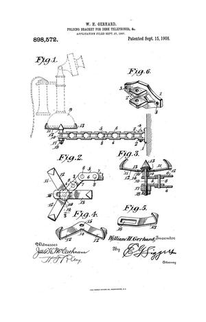 Primary view of object titled 'Folding Bracket for Desk-Telephones, &c.'.