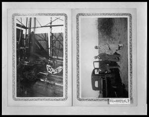 Primary view of object titled 'Oil Well Production With Man On Platform; Three Men With Pick-up Truck'.