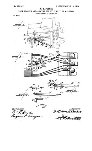 Primary view of object titled 'Back Spacing Attachment for Type Writing Machines'.