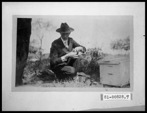 Primary view of object titled 'Rupert Richardson with Beehive'.