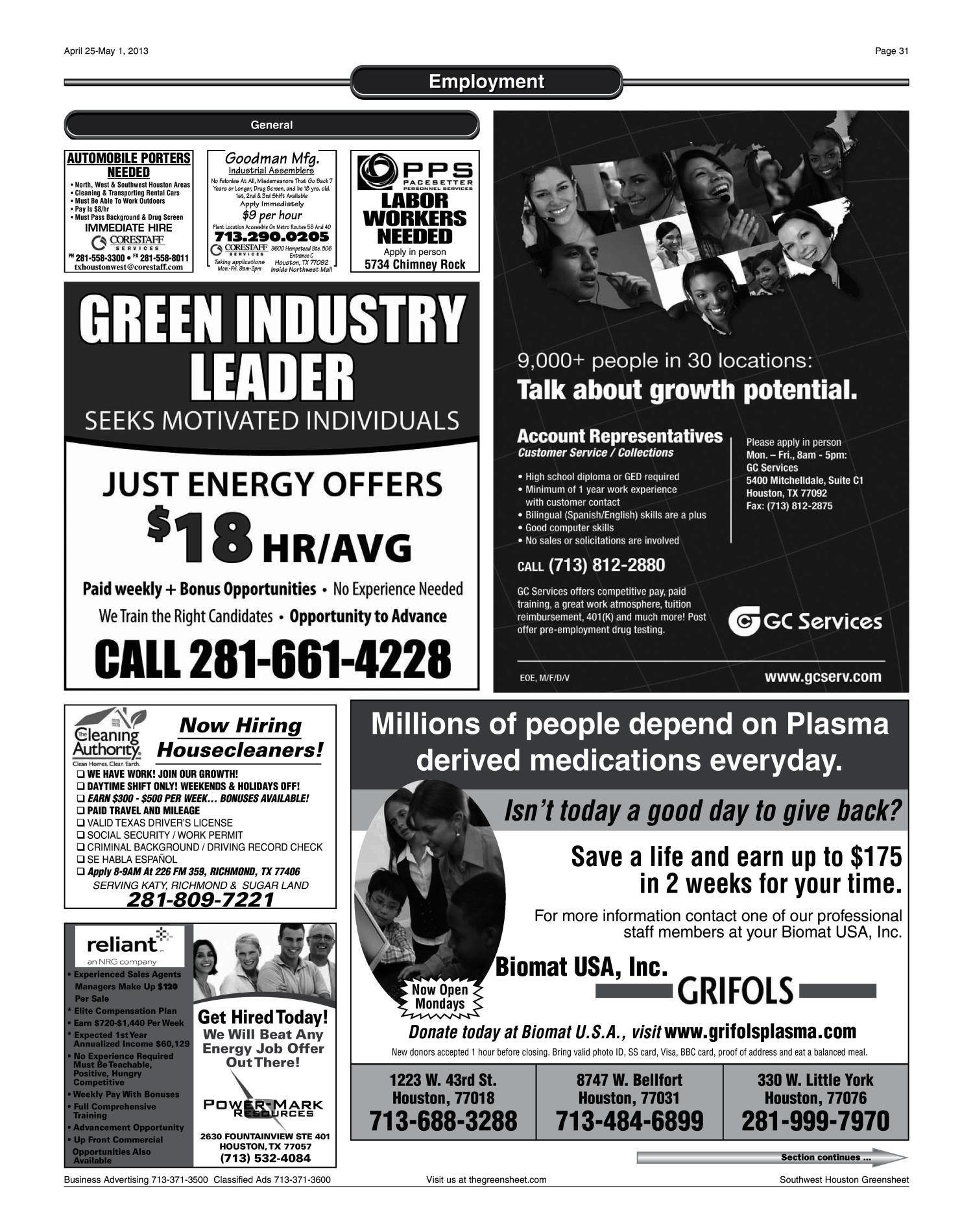 The Greensheet (Houston, Tex ), Vol  44, No  152, Ed  1 Thursday