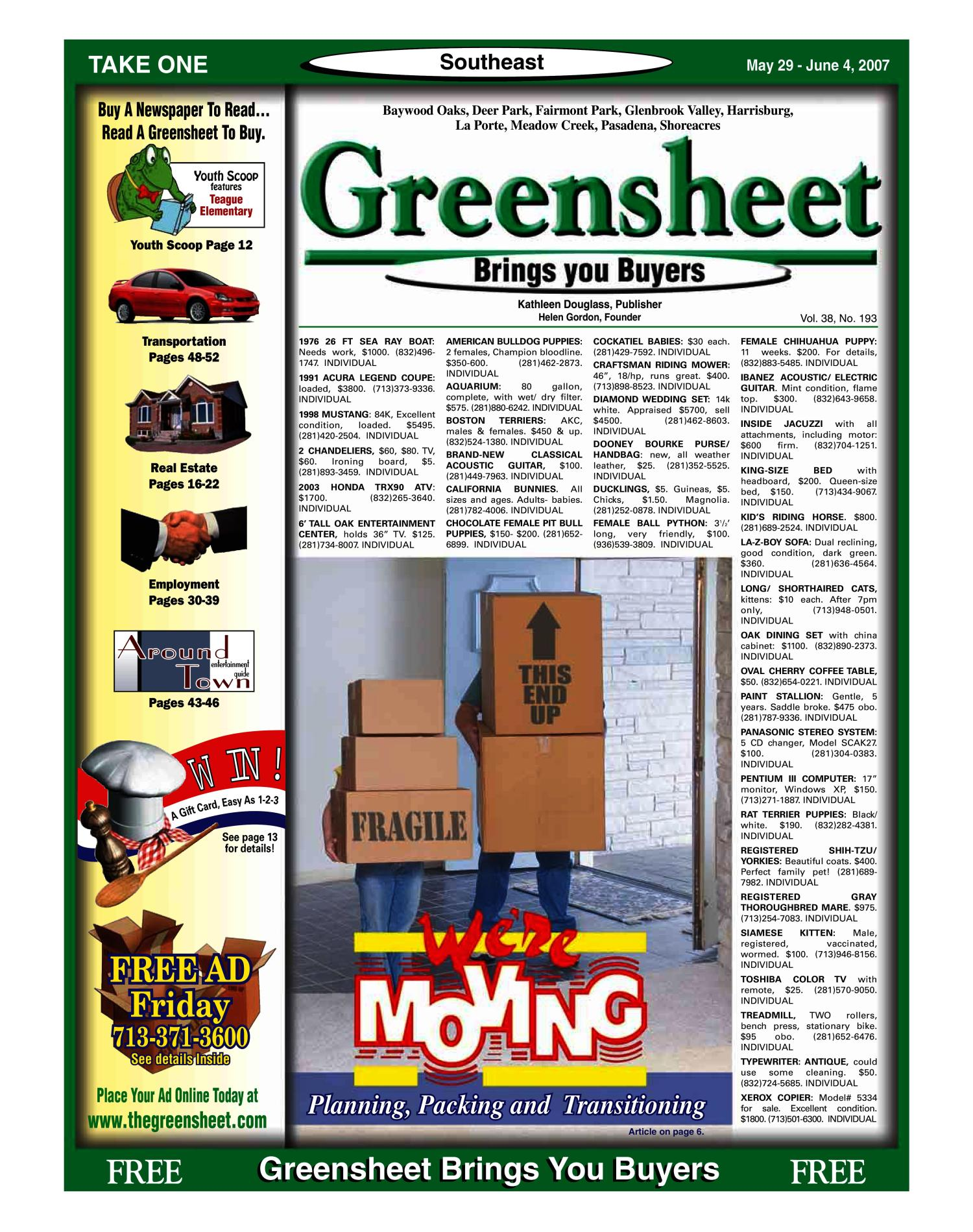 Greensheet (Houston, Tex.), Vol. 38, No. 193, Ed. 1 Tuesday, May 29, 2007                                                                                                      [Sequence #]: 1 of 52