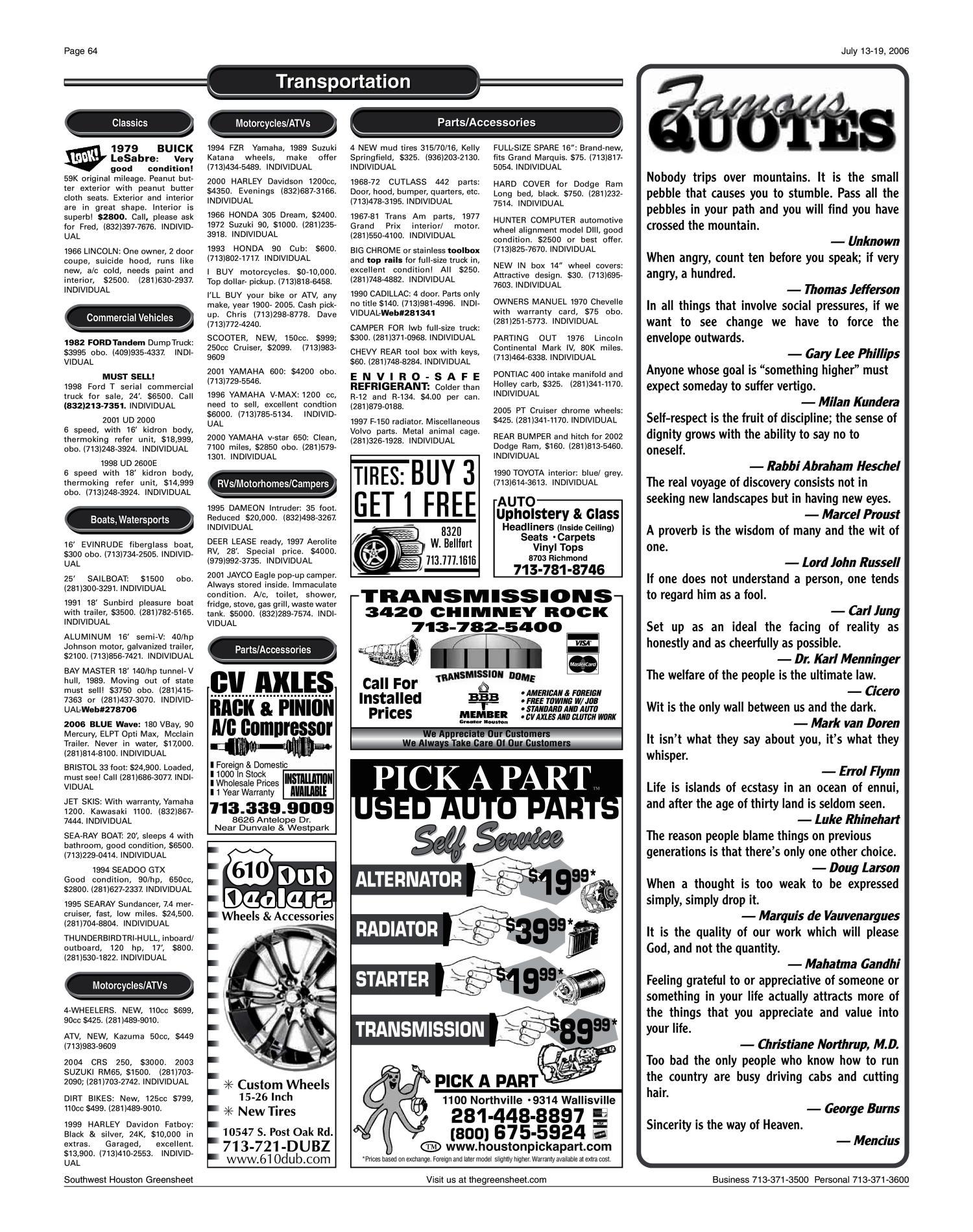 Greensheet (Houston, Tex ), Vol  37, No  272, Ed  1 Thursday, July