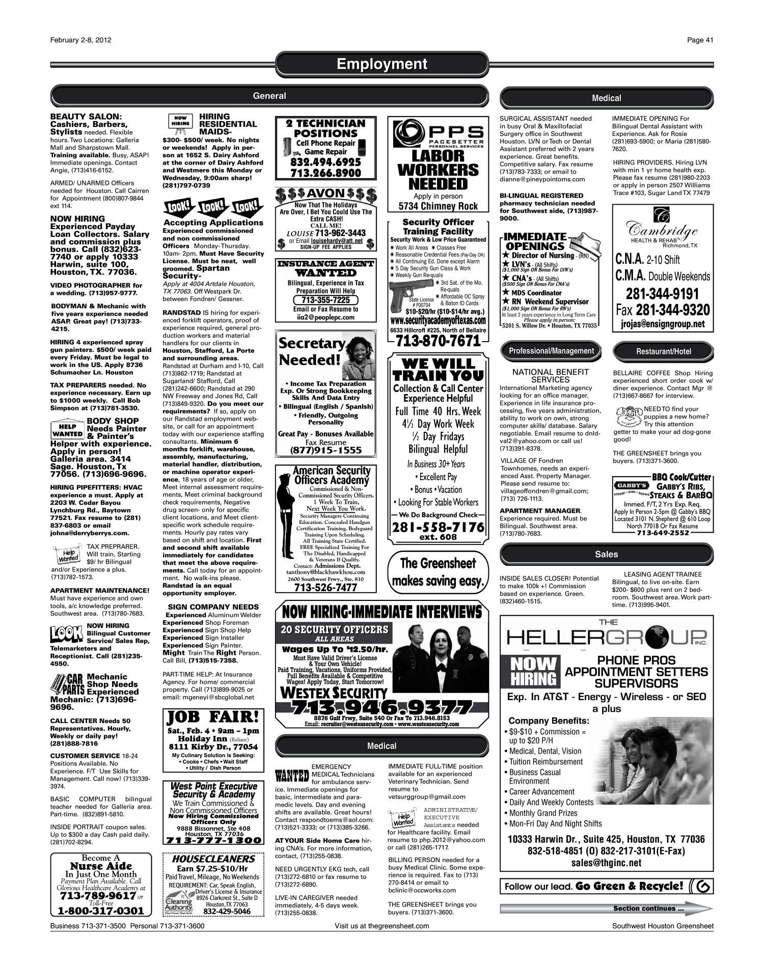 The Greensheet Houston Tex Vol 43 No 8 Ed 1 Thursday