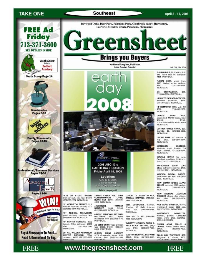 Greensheet (Houston, Tex ), Vol  39, No  109, Ed  1 Tuesday