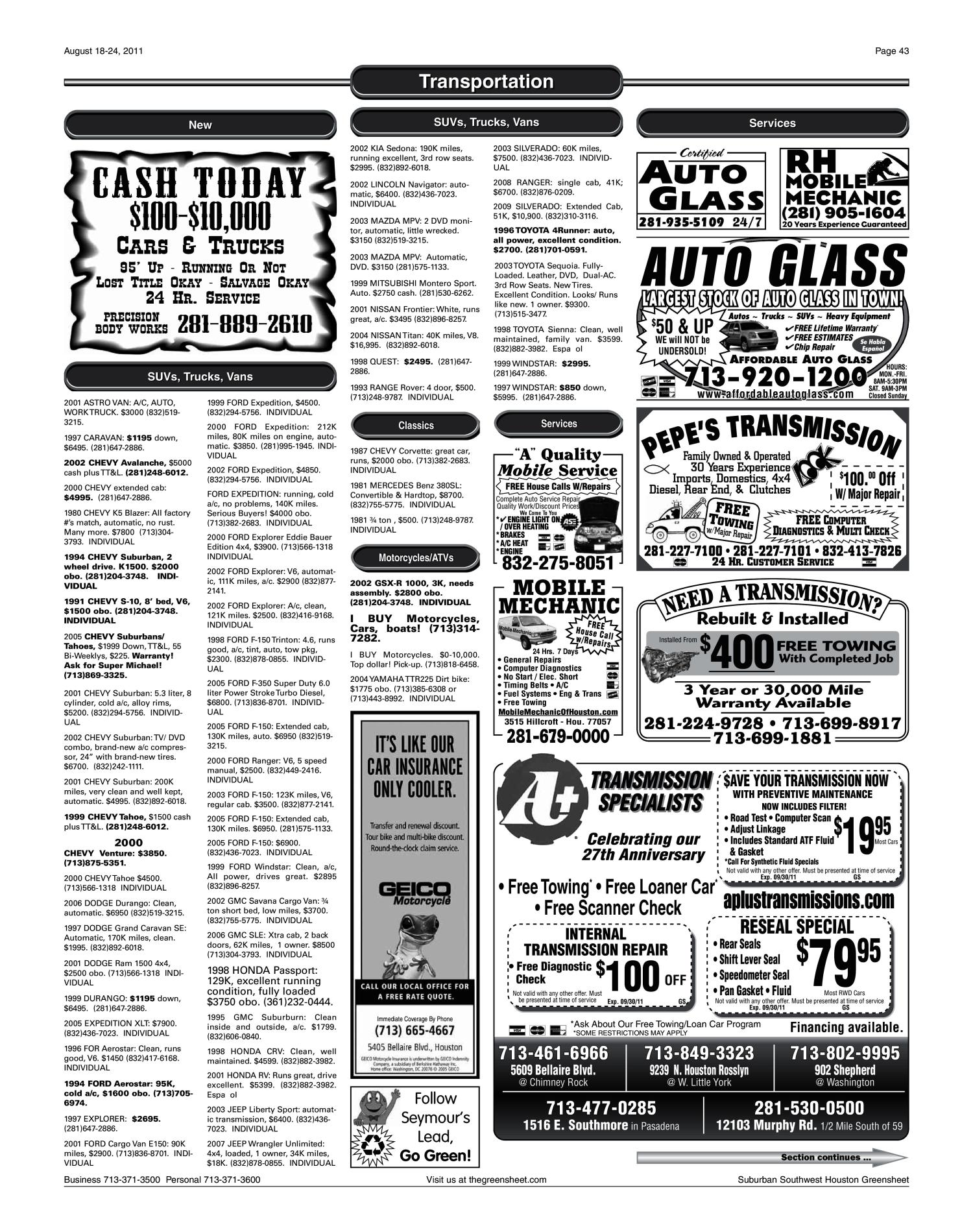 The Greensheet Houston Tex Vol 42 No 345 Ed 1 Thursday 2001 Mitsubishi Montero Timing Belt August 18 2011 Page 43 Of 48 Portal To Texas History
