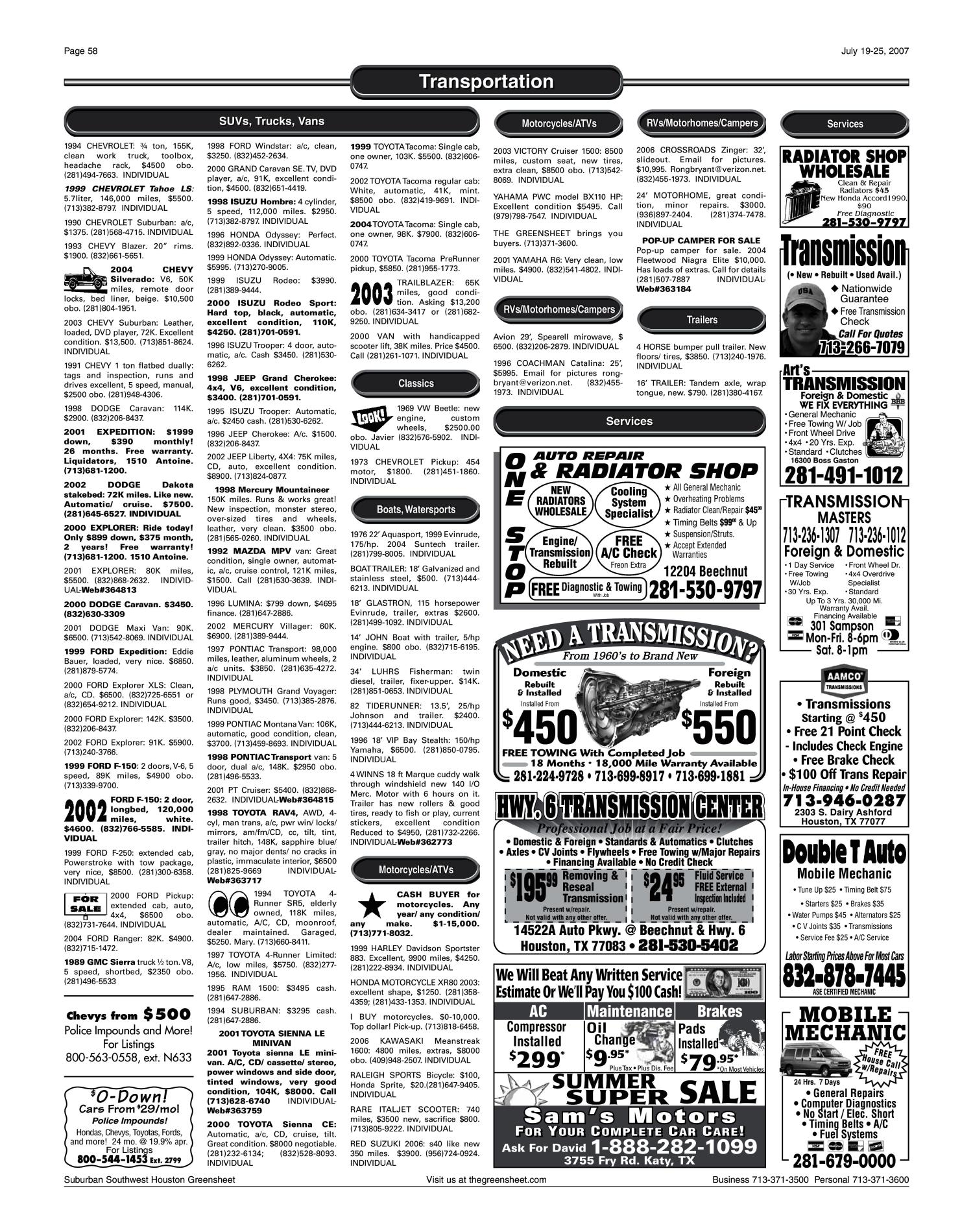Greensheet (Houston, Tex ), Vol  38, No  285, Ed  1 Thursday, July