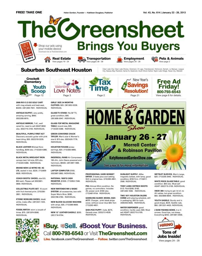 ab888079ec53 The Greensheet (Houston, Tex.), Vol. 43, No. 614, Ed. 1 Tuesday ...