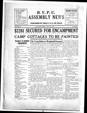 Primary view of object titled 'Baptist Young People's Union Assembly News (Palacios, Tex.), Vol. 9, No. 6, Ed. 1 Friday, July 15, 1927'.