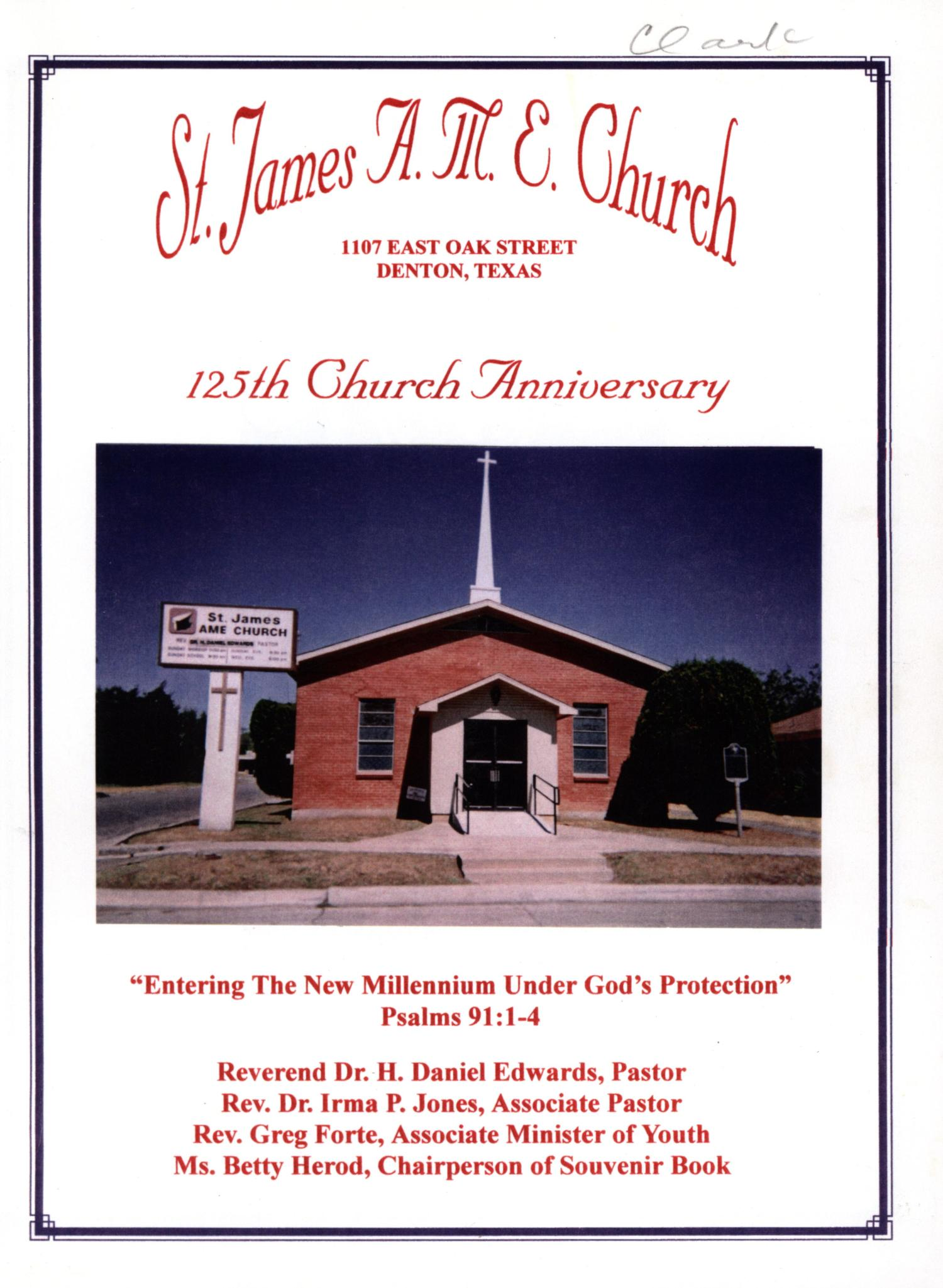 Saint James A M E Church 125th Anniversary Book The